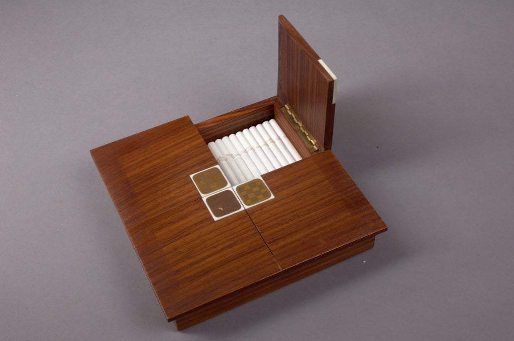 Wiinblad Tiles: Rosenthal Rosewood Box With Porcelain Tiles By Bjorn