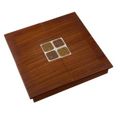 Rosenthal Rosewood Box with Porcelain Tiles by Bjorn Wiinblad, 1960s
