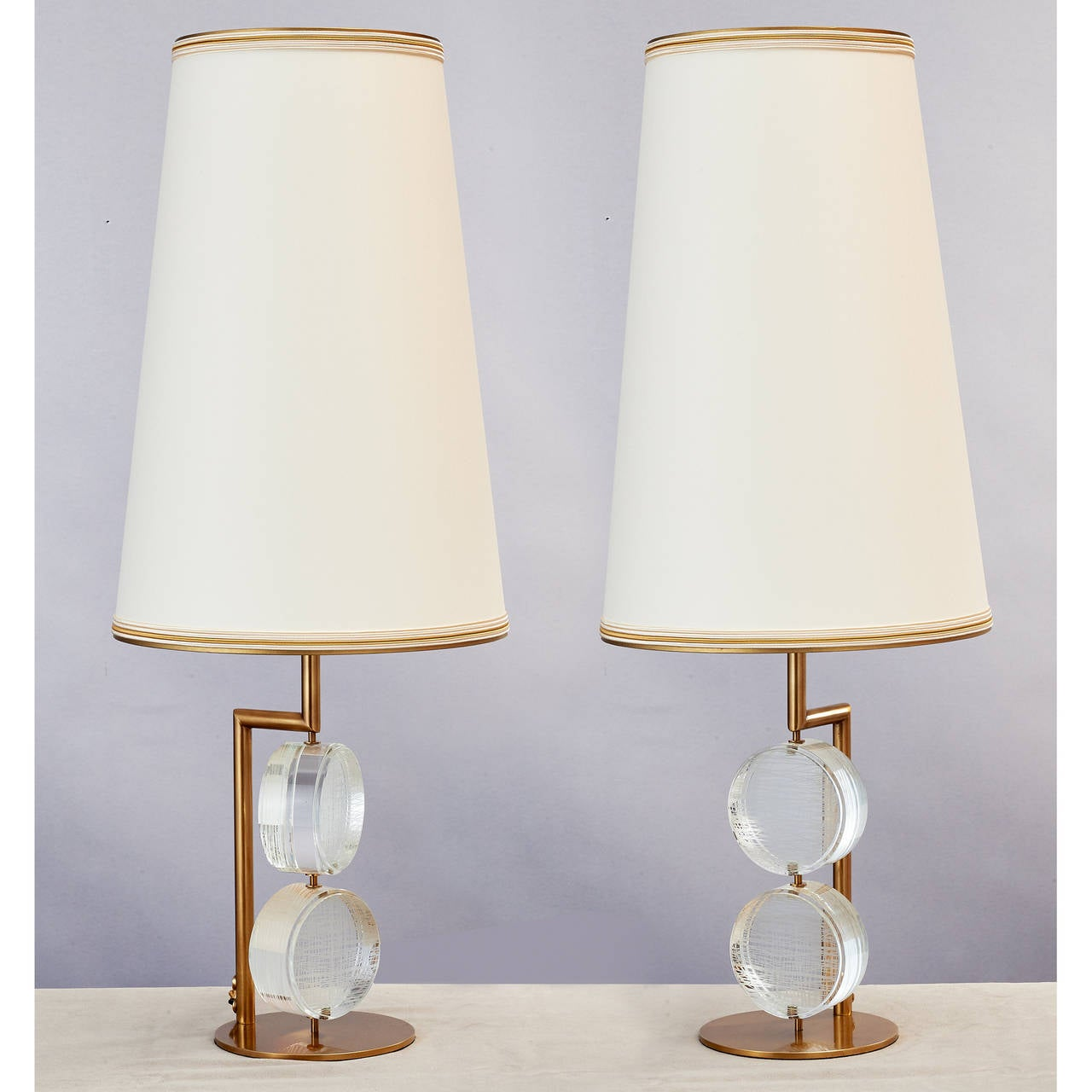 Mid-Century Modern Limited Edition Pair of Etched Glass Lamps by Roberto Rida For Sale