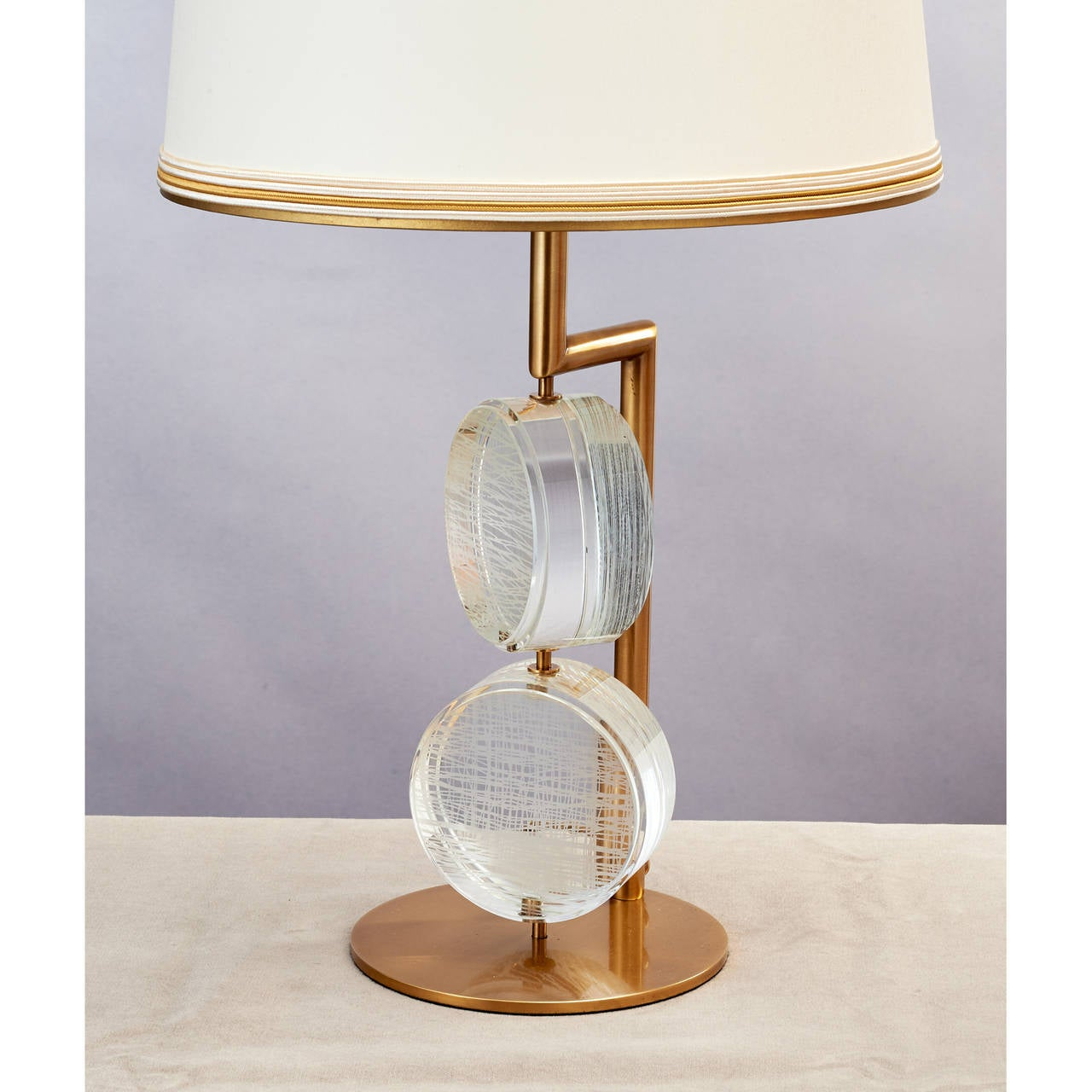 Limited Edition Pair of Etched Glass Lamps by Roberto Rida In Excellent Condition For Sale In New York, NY
