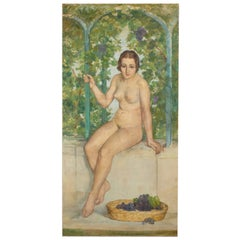 Tall Pedro Pruna Nude Oil on Canvas Painting, 1920s