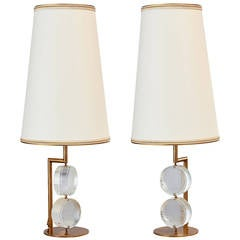 Limited Edition Pair of Etched Glass Lamps by Roberto Rida