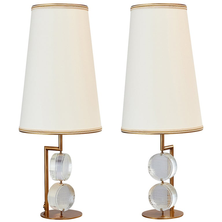 Limited Edition Pair of Etched Glass Lamps by Roberto Rida For Sale