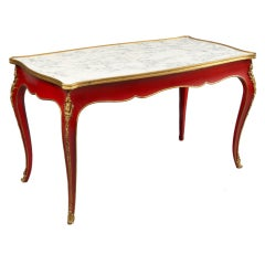 Jansen 1950s Louis XV Style Coffee Table in Red Lacquer with Bronze Mounts