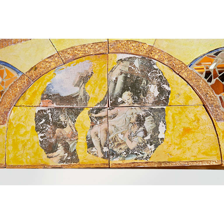 Alain Girel (1945-2001) for Hermes. A unique magnificent mirror in glazed sculpted ceramic tile, one of a set of four commissioned by Hermes, the Parisian fashion house, to present their 1994 scarf collection. Signed and dated. 60 W x 65 H Sold with
