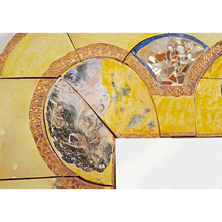 Modern Monumental Yellow Ceramic Mirror by Alain Girel for Hermes, Commissioned, 1994 For Sale
