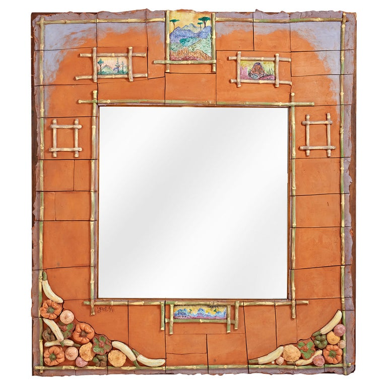 Magnificent Ceramic Mirror by Alain Girel for Hermes, Commissioned in 1994 For Sale
