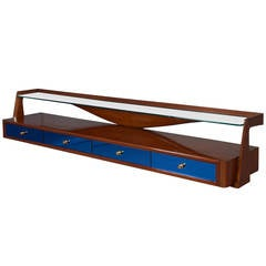 Modernist Italian 1950s Wall-Mounted Walnut Console with Blue Mirrored Glass