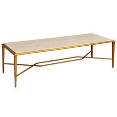 Important Modernist 1950s Gilt Wrought Iron Table by Ramsay