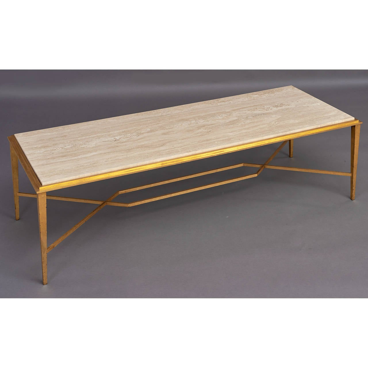 Mid-Century Modern Important Modernist 1950s Gilt Wrought Iron Table by Ramsay For Sale