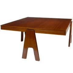 Angelo Mangiarotti 1950s  Square Mahogany Coffee Table