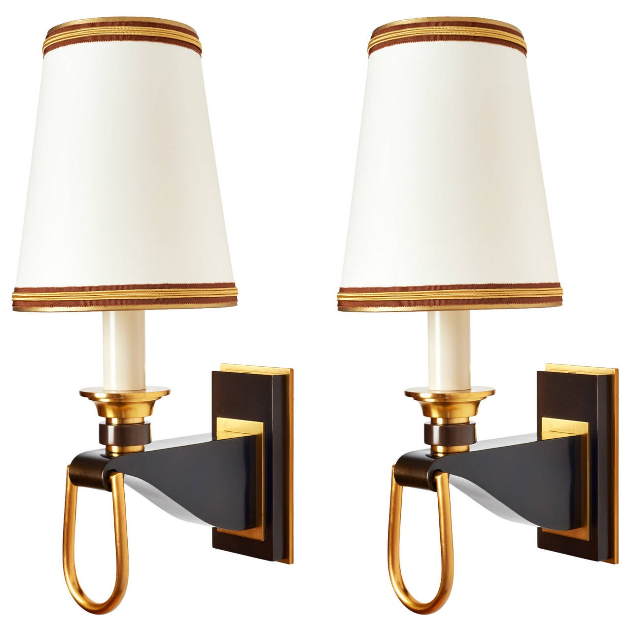 Elegant Pair of 1950s French Sconces with Stirrup Motif