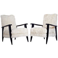 Sculptural Pair of French 1950s Ebonized Armchairs