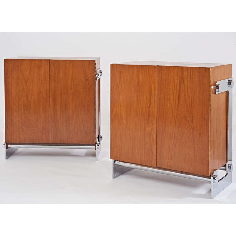 Mid-Century Modern Pair of French 1970s Modernist Walnut Cabinets by Gilles Bouchez For Sale