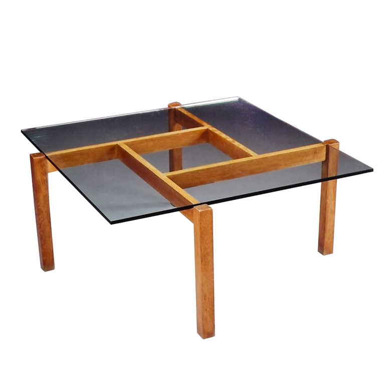 Square Oak 1960s Coffee Table In The Style Of Poul Kj Rholm For Sale At 1stdibs