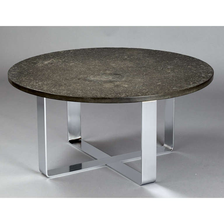 1970s fossil embossed table on chromed steel base for sale for Fossil coffee table