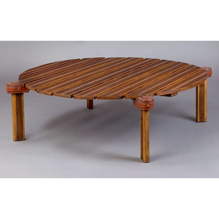 Jacques adnet large coffee table at 1stdibs for Coffee table with studs