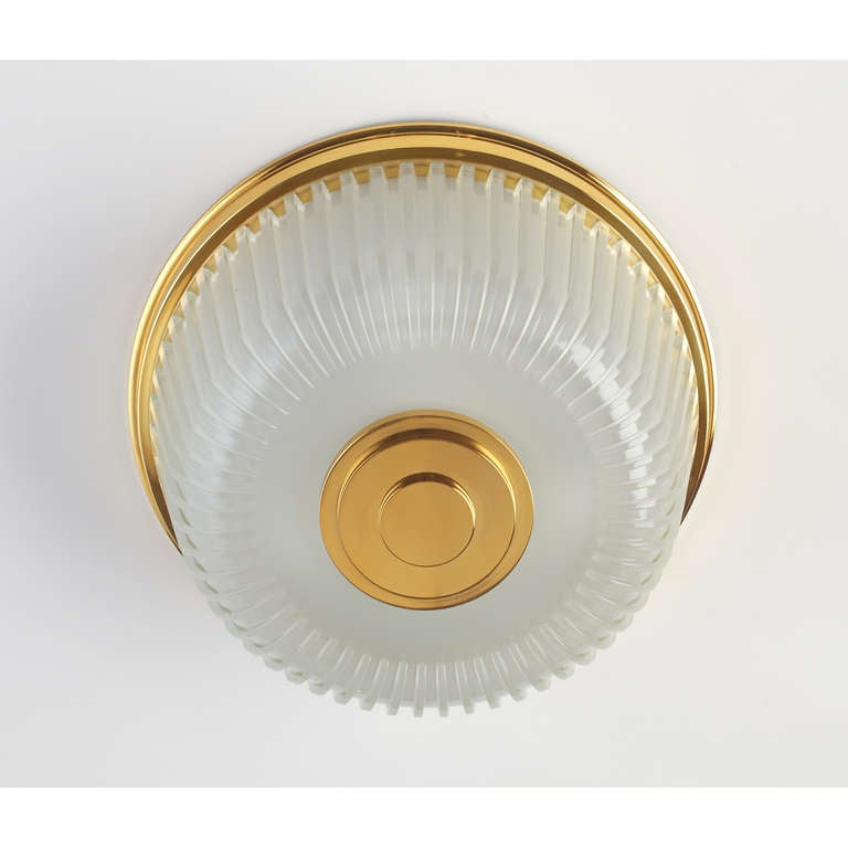 Mid-Century Modern  Italian Mid-Century Ribbed Glass Ceiling Fixture For Sale