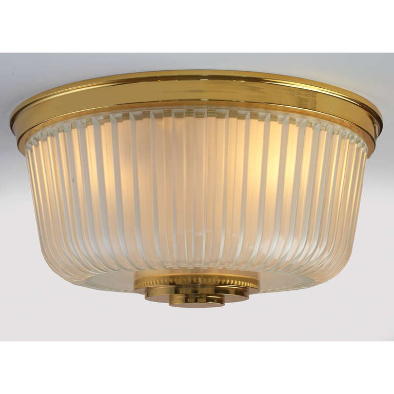 Italian Mid-Century Ribbed Glass Ceiling Fixture In Excellent Condition For Sale In New York, NY