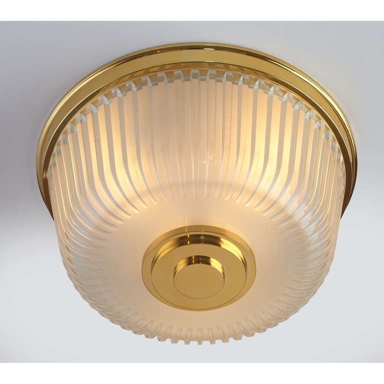Mid-20th Century  Italian Mid-Century Ribbed Glass Ceiling Fixture For Sale