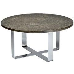 1970s Fossil Embossed Table on Chromed Steel Base