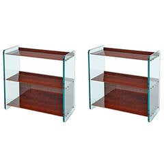 Pair of Large Glass Side Tables, France, 1970s
