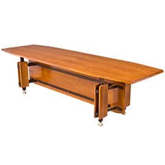 Monumental Italian 1950s Tapering Fruitwood Dining Table