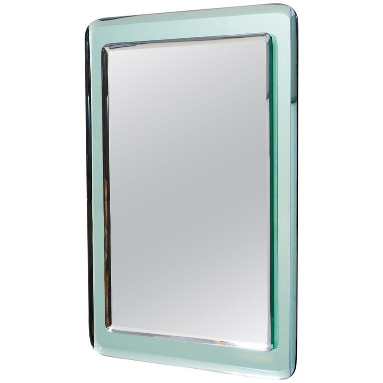 Pair of Vert Nil Reverse Beveled Glass Mirror, Italy, 1970s
