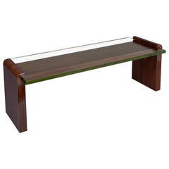 Important 1930s Macassar Ebony and Glass Coffee Table by Jacques Adnet