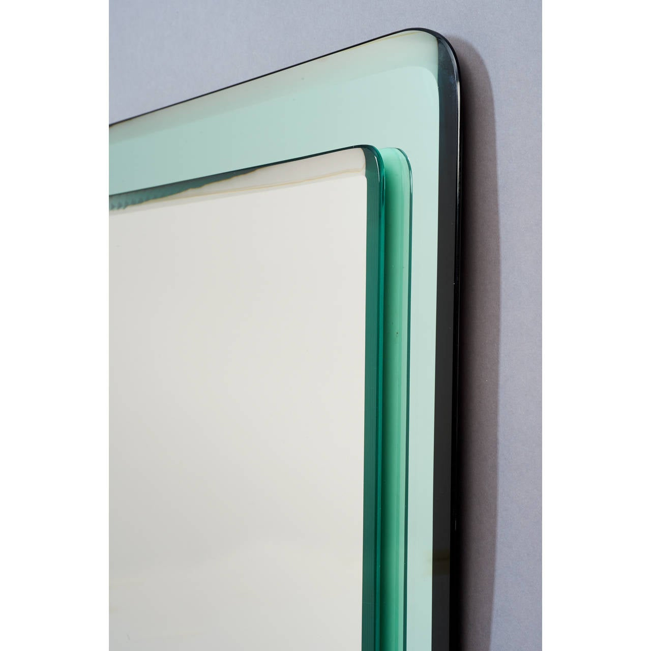 Mid-Century Modern Pair of Vert Nil Reverse Beveled Glass Mirror, Italy, 1970s