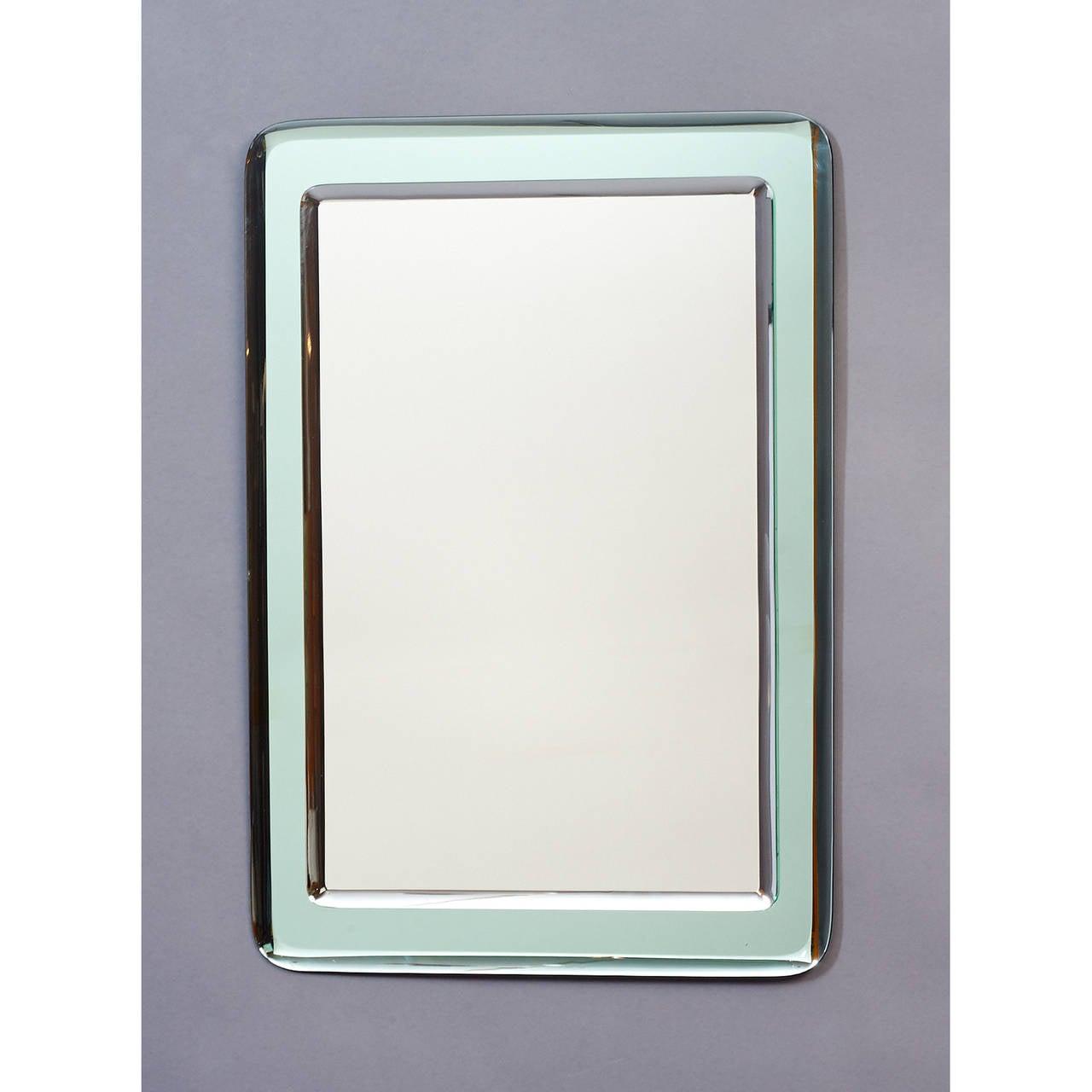 Italian Pair of Vert Nil Reverse Beveled Glass Mirror, Italy, 1970s