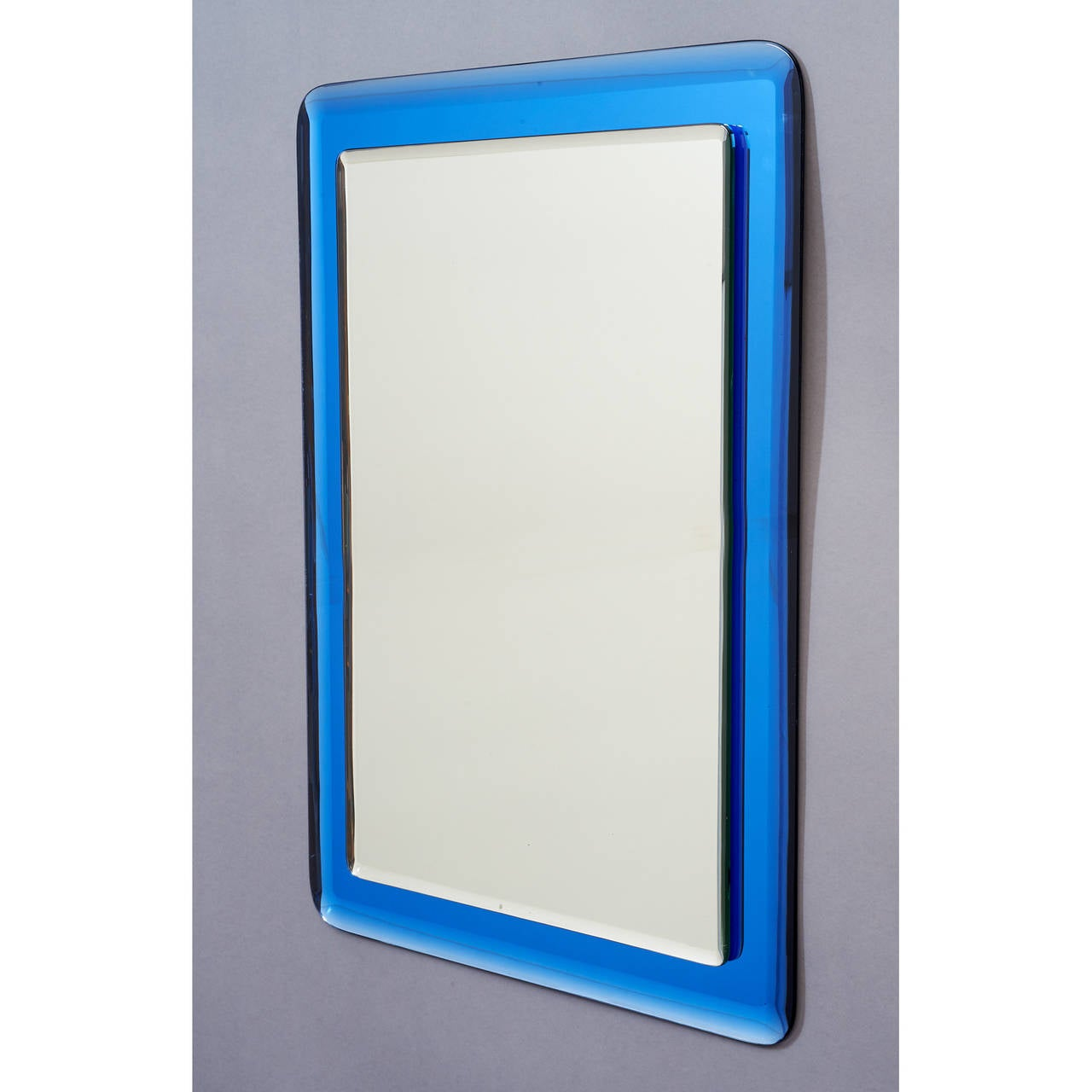 Blue colored beveled glass mirror italy 1970s for sale for Beveled glass mirror