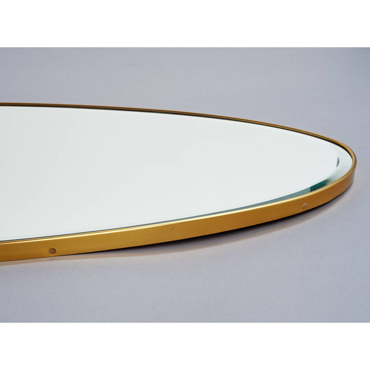 Italian Long Oval Brass Mirror, Italy, 1950s For Sale