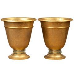 Pair of Art Deco Acid-Washed Urn Uplights