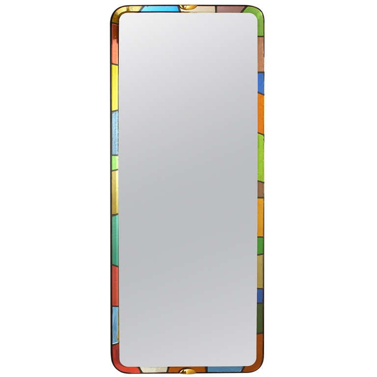 A rare and tall fontana arte colored glass mirror at 1stdibs for Tall glass mirror
