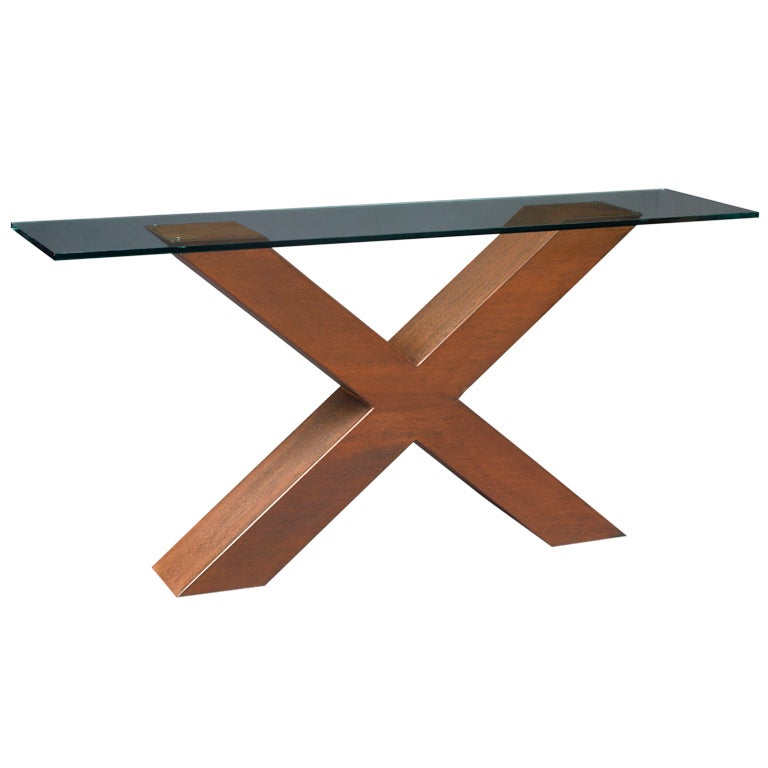 slim modernist corten steel console table france 1970s 1