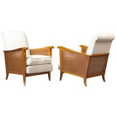 Pair of Large Cane Armchairs by Jallot