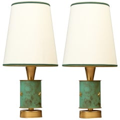 Pair of 1950s French Brass Table Lamps with Verdigris Decor