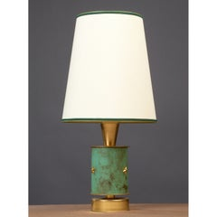 A  1950s French Brass Table Lamp with Verdigris Decor