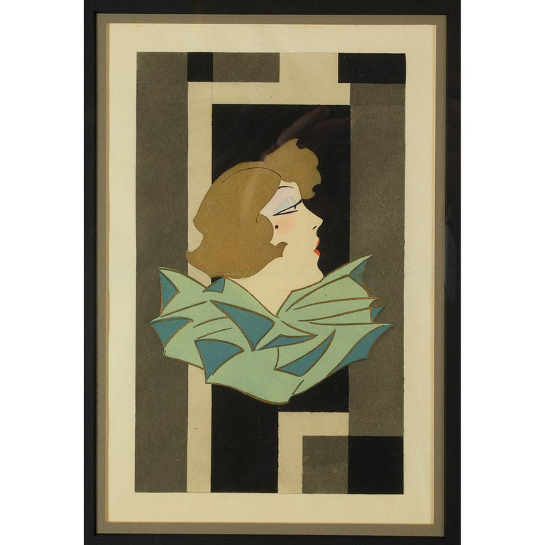 France, 1920s Art Deco Gouache on paper Stylized portrait of a woman in profile on geometric background in grey, black and cream tones. 20 x 16 framed.