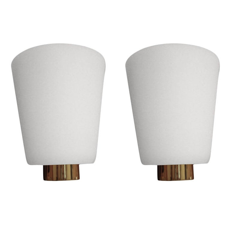 Rare Pair of Perzel, 1950s White Glass Sconces