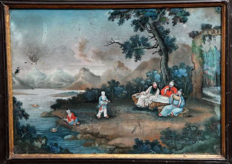 Chinese Export Reverse Glass Painting 3