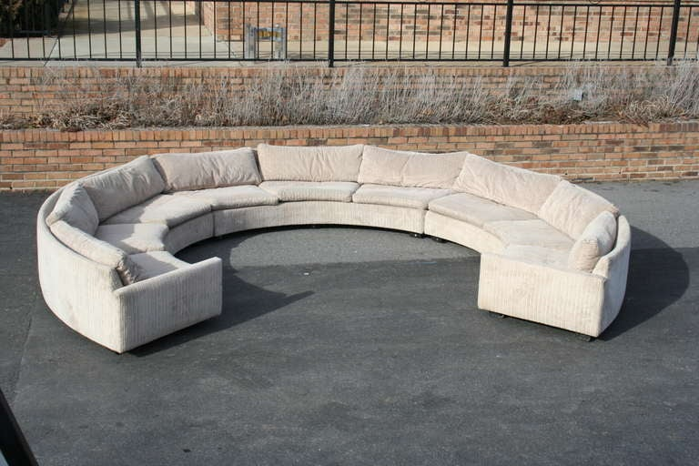 A Semicircle Three Piece Sectional Sofa By Milo Baughman