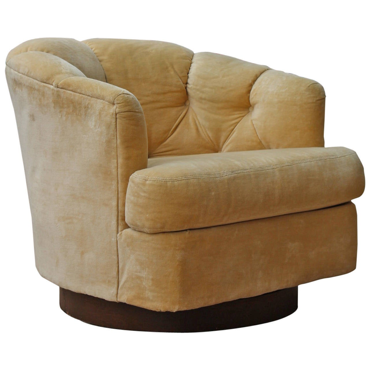 Deep Tufted Barrel Back Swivel Lounge Chair by Selig at 1stdibs