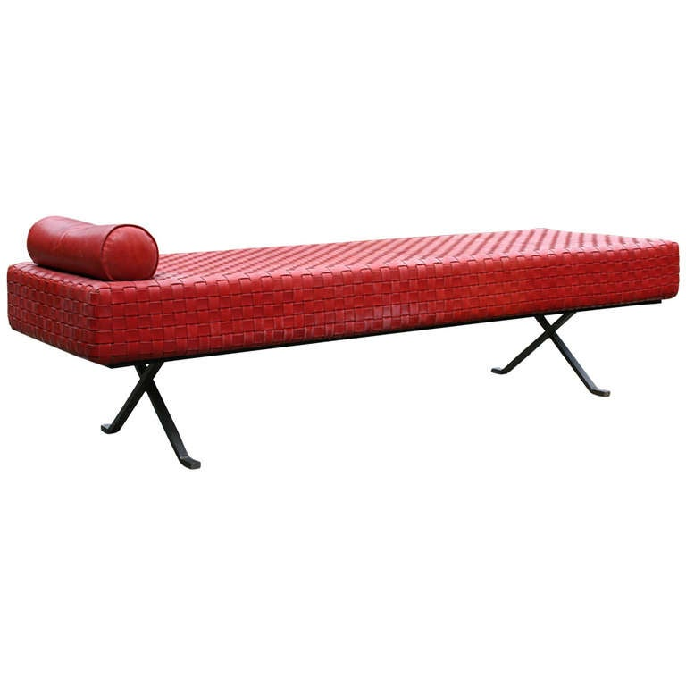 A vintage woven red leather chaise at 1stdibs - Chaise longue montreal ...
