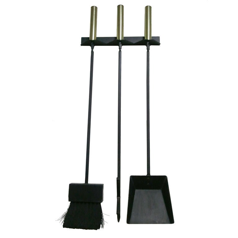 wall mount brass and cast iron modern fireplace tools at