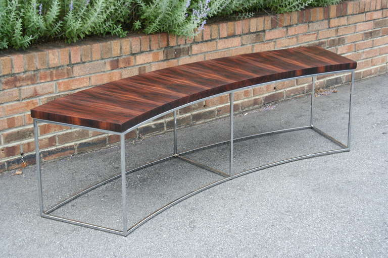 Pair Of Rosewood And Chrome Sofa Tables By Milo Baughman