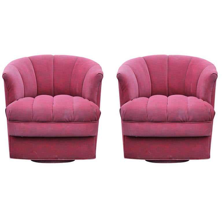 Pair of Barrel Back Swivel Lounge Chairs at 1stdibs
