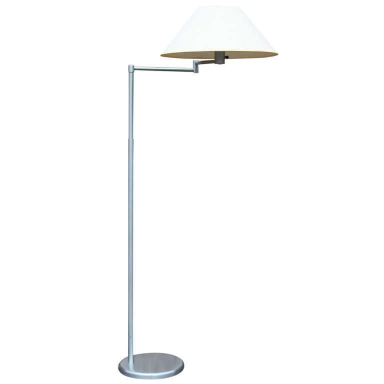 brushed nickel swing arm floor lamp by nessen at 1stdibs. Black Bedroom Furniture Sets. Home Design Ideas