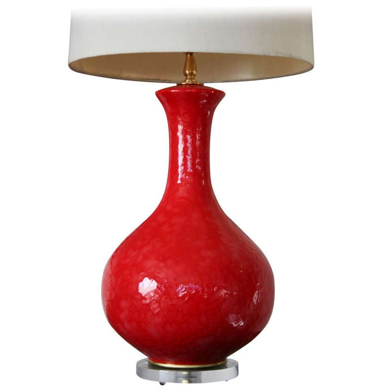 Red Chandelier Table Lamp: A Vibrant Red Ceramic And Lucite Table Lamp At 1stdibs